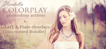 Florabella Colorplay Photoshop Actions Light Sunflare Overlays Discount bundle